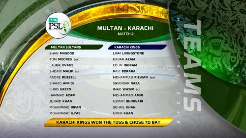 eam lineups for the second game of the #HBLPSL 2019. Which team are you supporting?