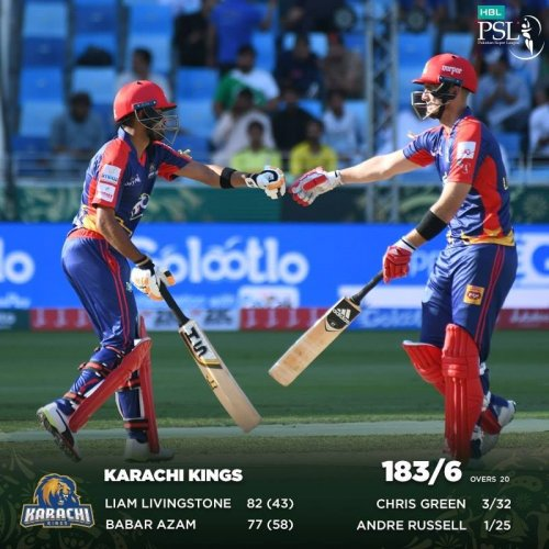The #HBLPSL debutant Livingstone and Kings' opener Babar provided the perfect start for the Kings but a great comeback from Sultans did not let Kings continue the runscoring momentum. Sultans need 184 to win #MSvKK game.