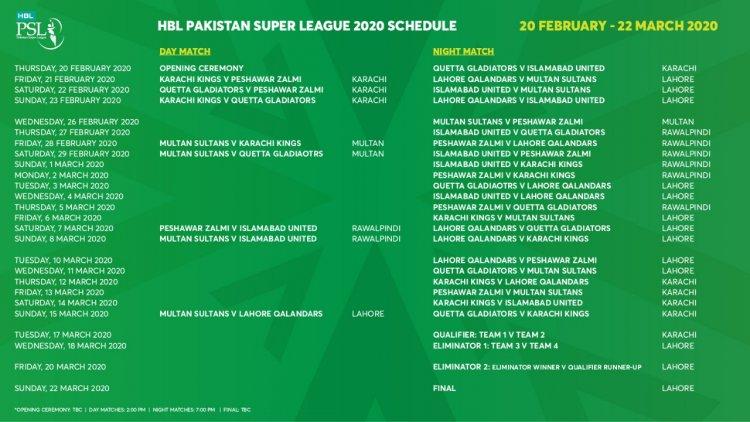 PSL T20 Schedule 2020